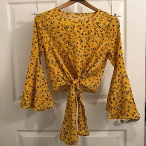 Tops - Blue and yellow floral blouse